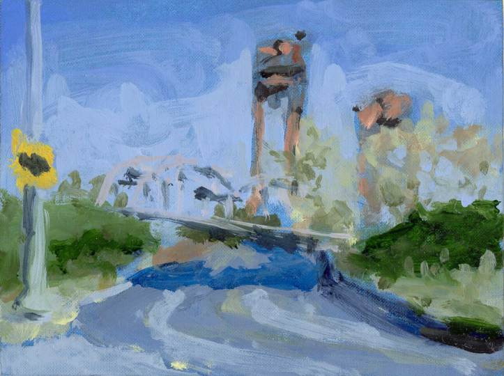 Burlington Northern RR Bridge - oil sketch
