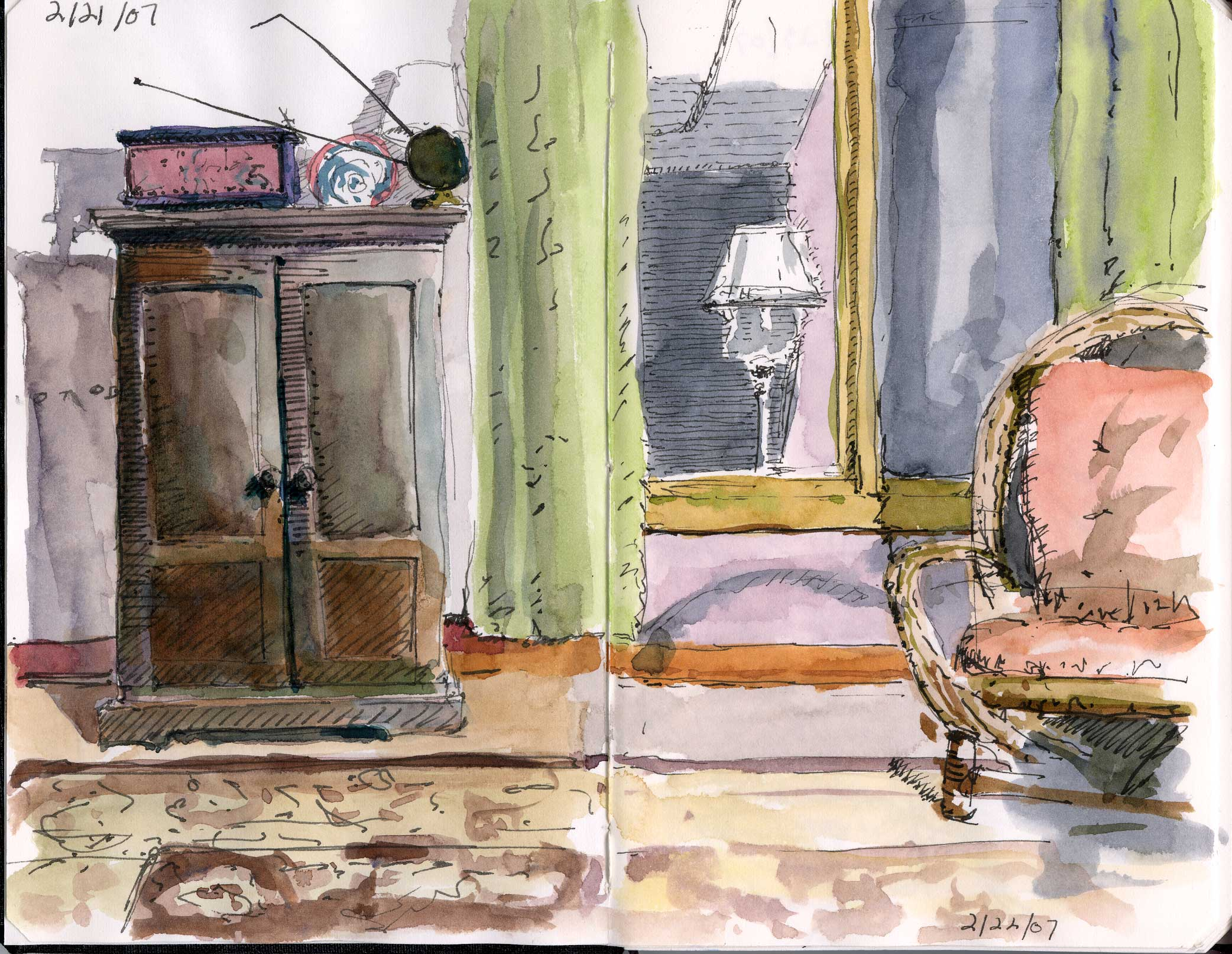 Living Room Ink And Watercolor Sketch