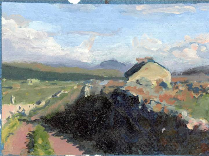 Omey Cottage oil sketch