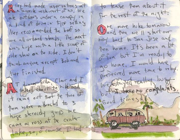 Travel Journal Pages with Background Art and Daily Writings Watercolors Van and Landscape