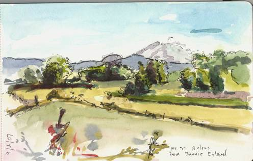 Mt St Helens from Sauvie Island - ink and watercolor