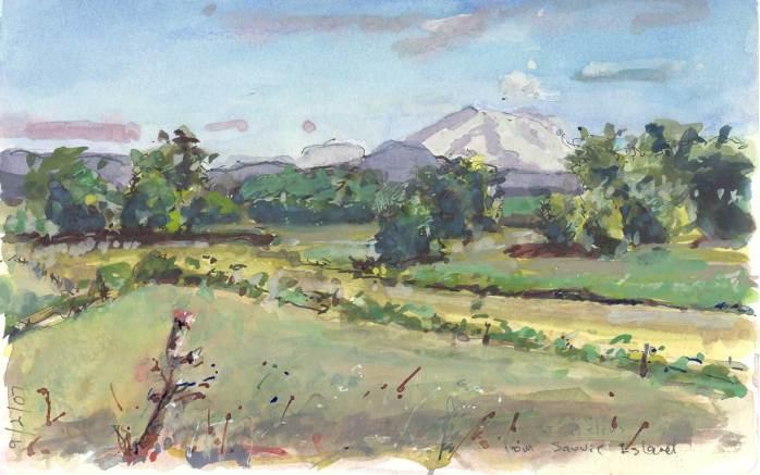 Mt St Helen's gouache