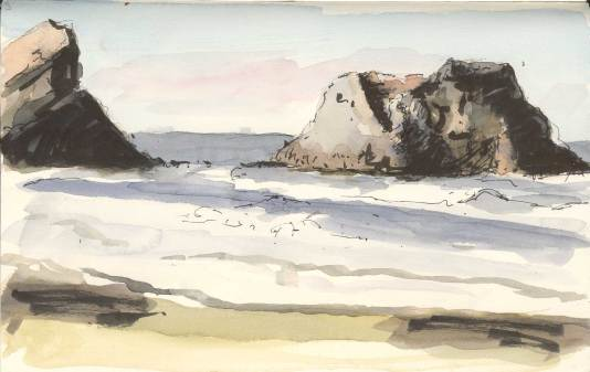 Rocks off Chapman Point - pen and watercolor