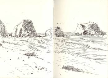 Ink sketch of rocks off Chapman Point