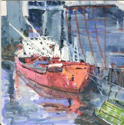 Ship on clayboard