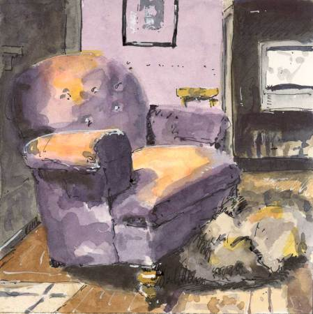 interior with dog and velvet chair