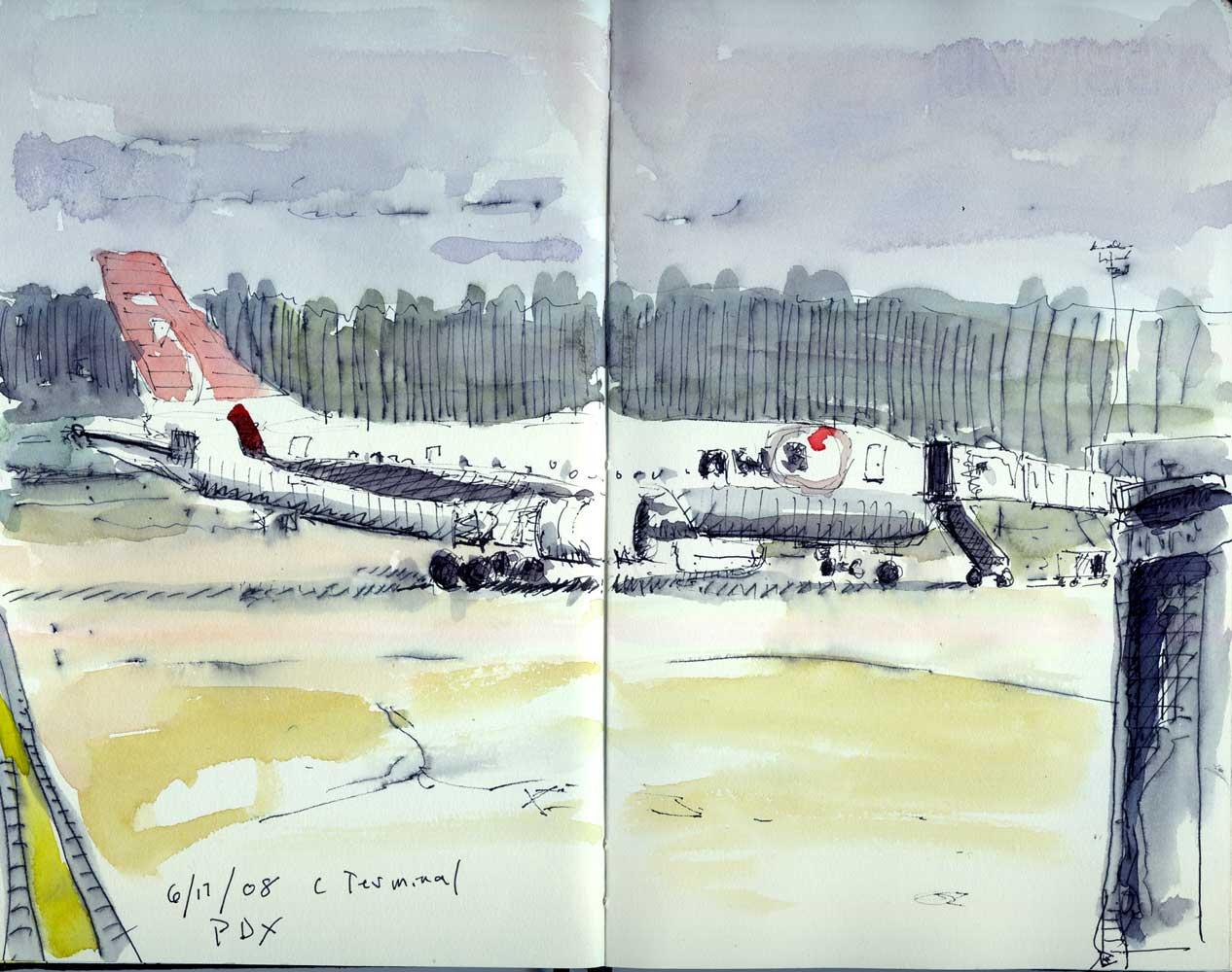 Airport Sketches Bill Sharp Paintings Blog