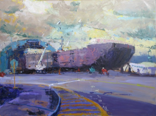"""Betsy Arntz Barge Under Construction"" 30"" x 40"" oil on linen"