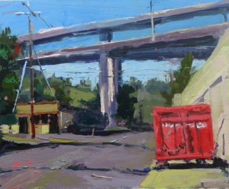 "'Red Dumpster in NW PDX'  10"" x 12"" oil on linen panel"