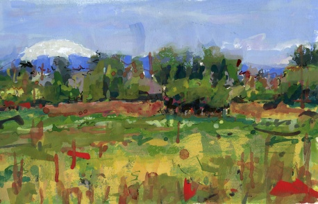 Mt St Helens from Sauvie Island gouache