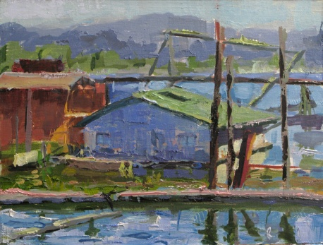 """Docks in Ranier"" 9x12 oil on linen panel"