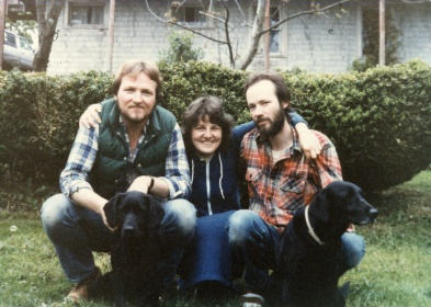 My brother, Jim, Les and me w dogs Timber and Indi circa 1983