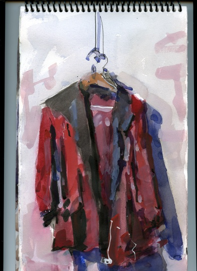 Les' Red Coat watercolor and ink