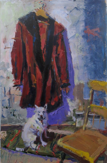 "Miki and the Red Coat 21"" x 14"" oil on linen"