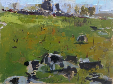 "Cows at Coon Point 9""x12"" oil on linen panel"