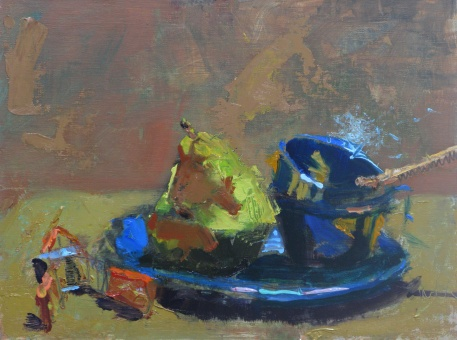 "Pear on a Blue Plate 9"" x 12"" oil on panel"