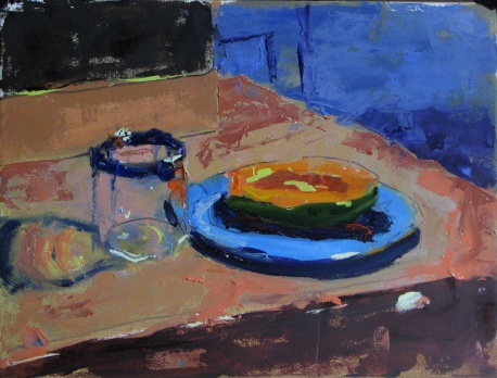 "Papaya and Water Glass 12"" x 16"" oil on archival paper"