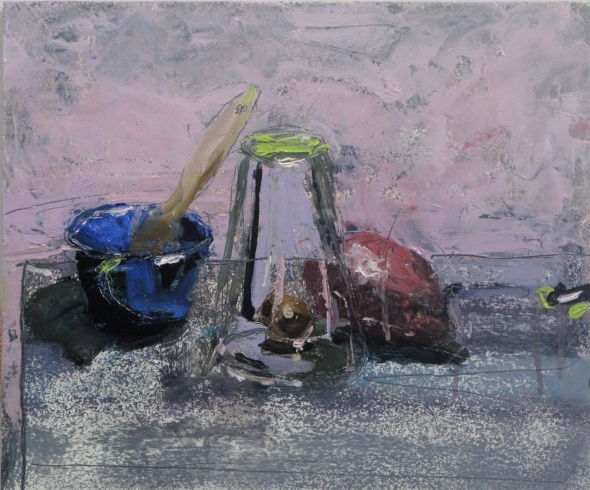 "Still Life with Overturned Glass 10"" x 12""  oil and pencil on panel"