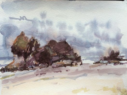 Arcadia Beach State Park Oregon watercolor