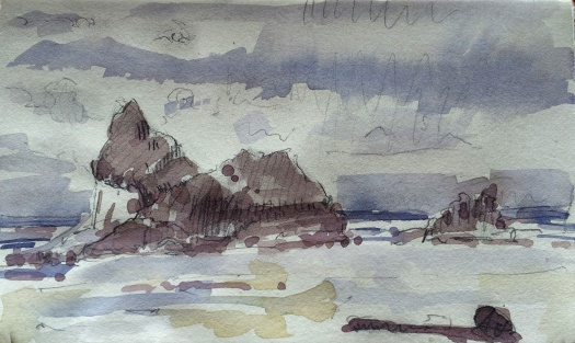 Arcadia Beach State Park Oregon watercolor and pencil