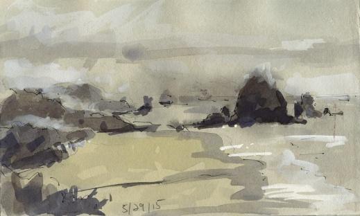 Haystack Rock Oregon ink and gouache in sketchbook