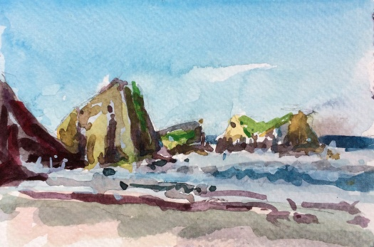 Rocks near Chapman Point Oregon watercolor