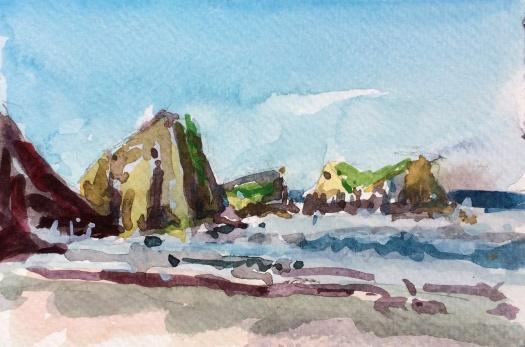 Rocks near Chapman Point Oregon watercolor