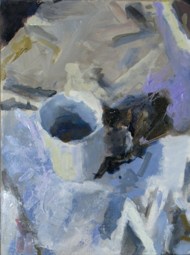 White Cup on White Cloth  16 x 12 oil