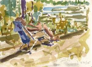 """Woman Reading by the River"" watercolor"