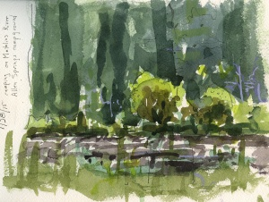 """""""Early Afternoon Metolius River"""" watercolor and ink"""