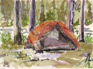 """Tent Camp"" watercolor and ink"