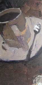 """""""White Cup with Spoon"""" 36"""" x 18"""" oil on linen"""