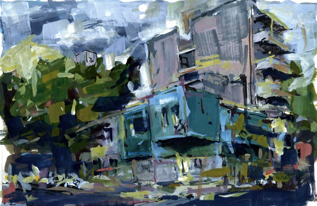 "Across from the Negroni Bar 6"" x 9"" gouache"
