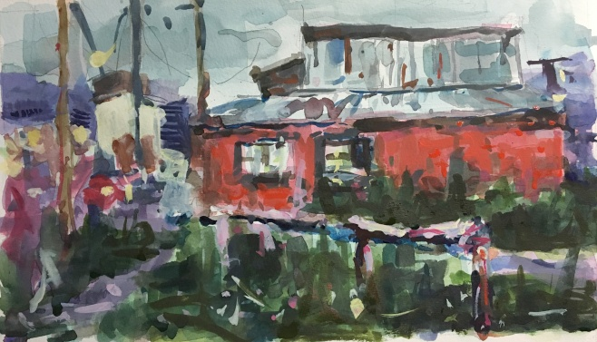 "Red House in Ushuaia 12"" x 7"" watercolor"