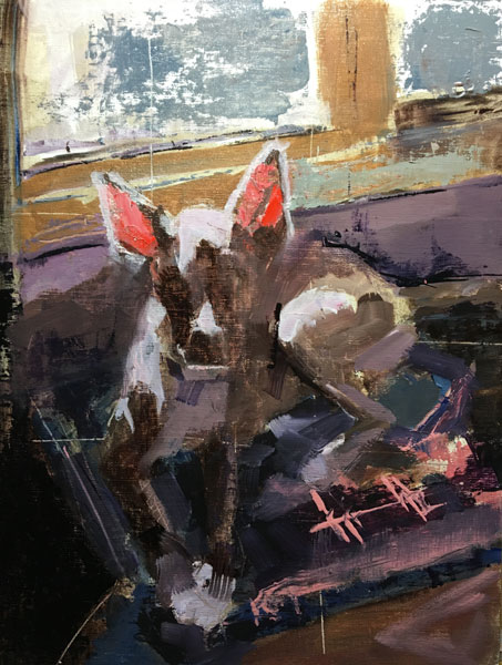 """Rue with Red Ears 11: x 14"""" oil"""