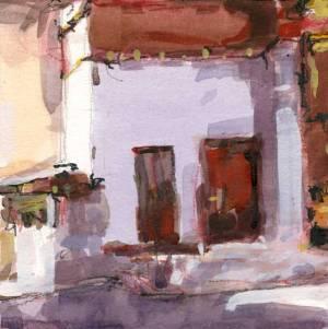 """Temple Doorways 6"""" x 6"""" gouache"""