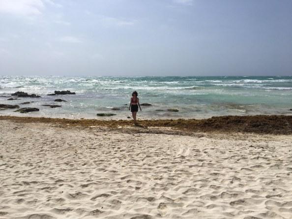 K on the beach blurred